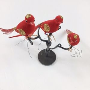 Vintage Christmas Ornaments Trio of Red Birds with